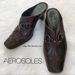 Aerosoles brown leather mules